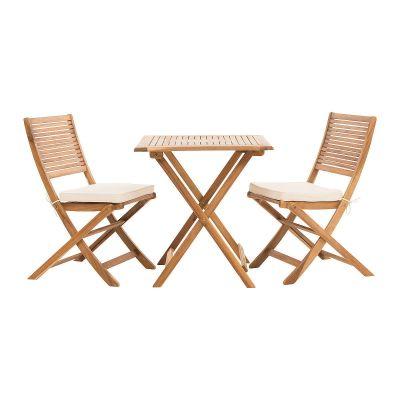 Gartenmöbel Set Carina, zum klappen, 3- tlg., inkl. Kissen, Akazienholz