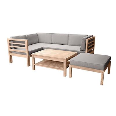Gartenmöbel-Set Variabel, 3-tlg., inkl. Auflagen, Holz