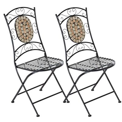 Gartenstuhlset Kemo, 2-tlg., 2 Stühle, mit Mosaik-Verzierung, Metall, Steine