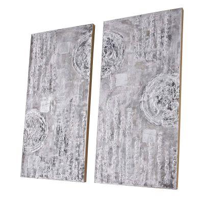 Bilder-Set, 2-tlg. Circles, handgemalt, Holz ca. B150x H151cm