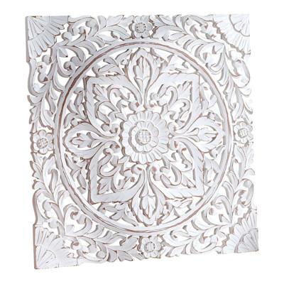 Best of home Wandbild Ornament 60 cm x 60 cm Weiß