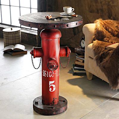 Beistelltisch Fireplug, einem Hydranten nachempfunden, Industrial-Look, Holz, MDF, Metall