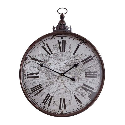 miaVILLA Best of home Metall-Wanduhr Weltkarte 80 cm x 60 cm