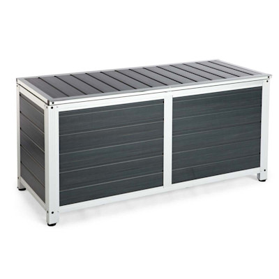 Kissenbox Salo, in Holzoptik, Aluminium Kunststoff, ca. B122,5 x T50 x H58 cm