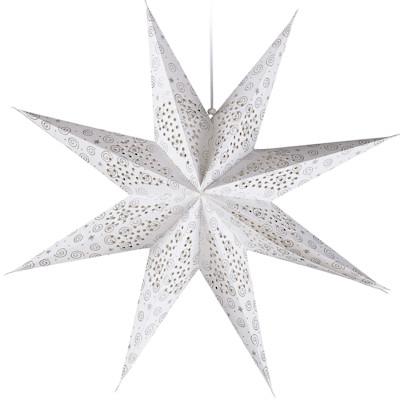 Dekohänger Stern Silber, 9 Zacken, Glitzernd, Papier