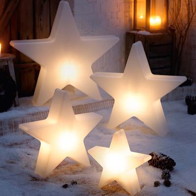 Deko-Objekt Stern Shiny, beleuchtet, outdoorgeeignet, Polyethylen, Durchmesser ca. 80 cm