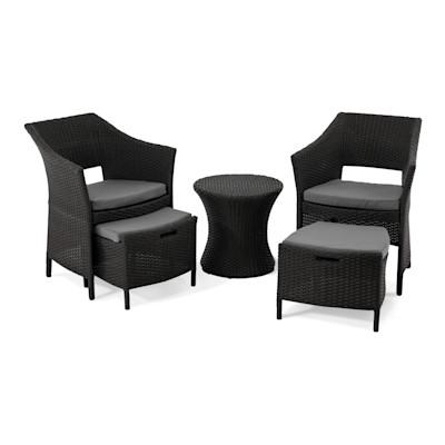 Gartenmöbel-Set aus Kunstrattan, 5-teilig, schwarz