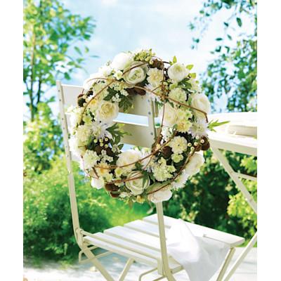 Kranz Blüten, Polyester/ Rattan, ca. Durchmesser 38 cm