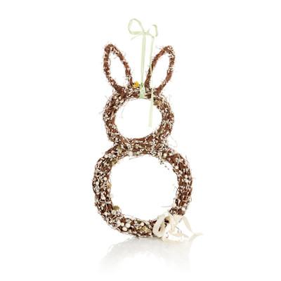 IMPRESSIONEN living Deko-Hase, geflochten, mit weißen Perlen, Natur-Look, Weide, Kunststoff