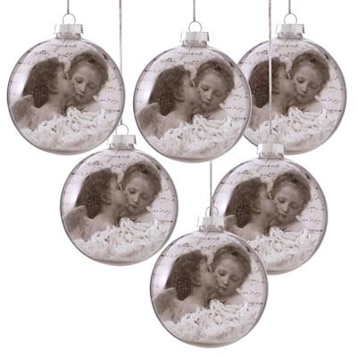 Weihnachtskugel-Set, 6-tlg. Engelspaar, Glas/ PVC, Durchmesser je ca. 8 cm