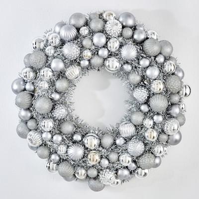 miaVILLA Dekokranz Silver, Kunststoff, Durchmesser ca. 50 cm