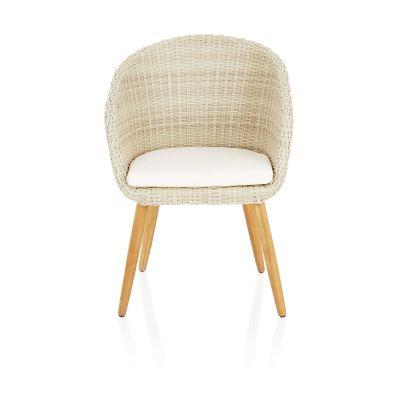 IMPRESSIONEN living Outdoor-Armlehnstuhl, mit Sitzkissen, modern, Kunststoffrattan, Massivholz