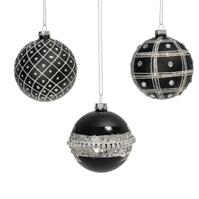 Weihnachtskugel-Set, 3-tlg. Glitter, Glitzerpartikel, Glas, Durchmesser je ca. 8 cm