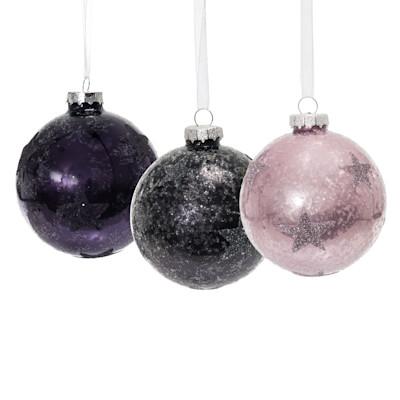 Weihnachtskugel-Set, 3-tlg. Schneezauber, Glitzerpartikel, Glas, Durchmesser ca. 8cm