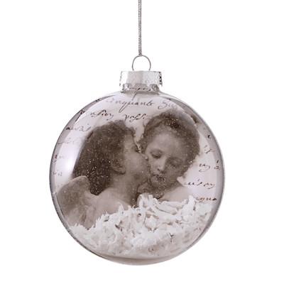 Weihnachtskugel Engelpaar, Glas/ PVC, Durchmesser ca. 8 cm