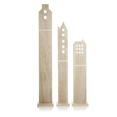 Deko-Haus-Set, 3-tlg., leicht gewischt, Paulownia Holz