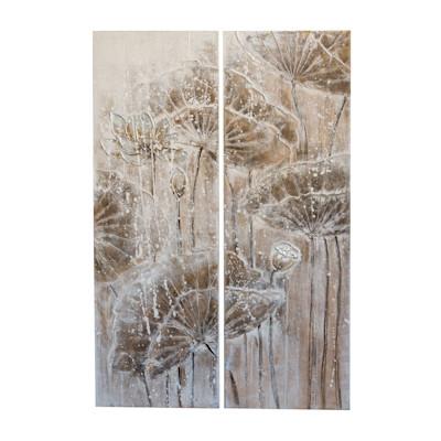 Bilder-Set Florales, 2-tlg., handgemalt, Leinen, Kiefernholz, ca. B80x H120cm