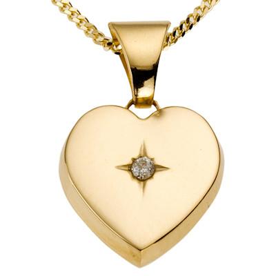 Kette mit Herzmedaillon, mit Diamant, 585 Gelbgold