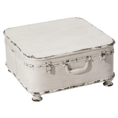 Beistelltisch Koffer, aufklappbar, Shabby Chic, Metall