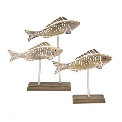 Dekofiguren-Set Fische, 2-tlg., Holz