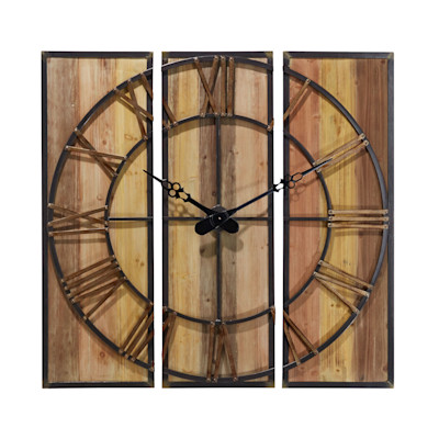 Wanduhr Wood, Natur-Look, Holz, Metall