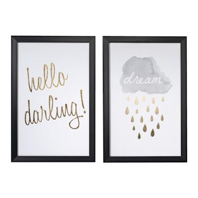 miaVILLA Bilder-Set, 2 tlg. Golden, Kunststoff, Leinwand, Glas