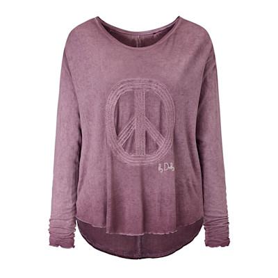 Dailys Langarmshirt, Peace-Applikation, Used-Waschung, Oversized