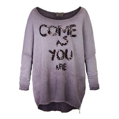 Cotton Candy Sweatshirt, Used-Waschung, Pailletten-Aufschrift