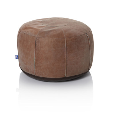 HK living Lederpouf, Used-Look, Patchwork, Boho-Style