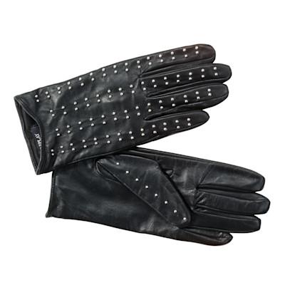 Lederhandschuhe, schwarz Nieten, Nietenbesatz