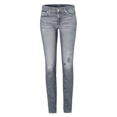 7 for all mankind Jeans, Mid Rise Roxanne, Used-Waschung, schmal geschnitten, Destroyed-Look