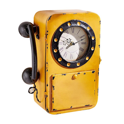 miaVILLA Best of home Metall-Wanduhr Telefon 32 cm x 24 cm