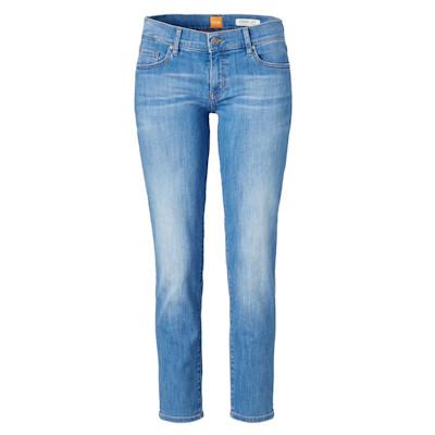 BOSS Orange Jeans, high waist, verkürzte Beinlänge, softes Denim, Stretch, Straight Leg, Used-Look