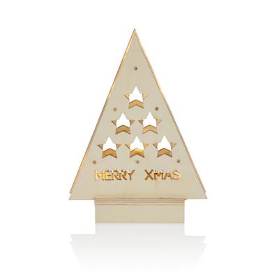 """IMPRESSIONEN living """"LED Holzbaum, stilisiert, ausgestanzte Sterne/Schriftzug """"""""Merry Xmas"""""""", modern, Holz"""""""