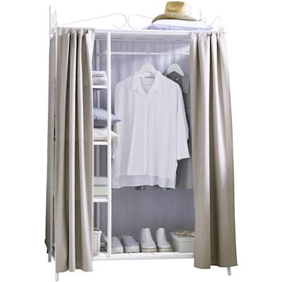 Kleiderschrank Air, mit Kleiderstange und Ablageflächen für Kleidung & Schuhe - hochwertige Stoff-Verkleidung, Metall, 1