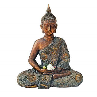 Dekofigur Silent Buddha, Kunststein, ca. 49 x 29 x 59 cm