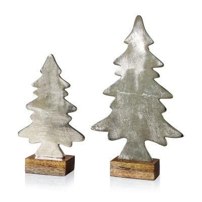Best of Home Deko-Objekt-Set Natural Silver Trees 2-teilig