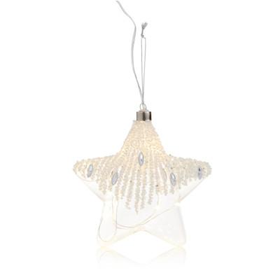 IMPRESSIONEN living LED Stern-Set, 2-tlg., perlenverziert, Romantik-Look, Glas