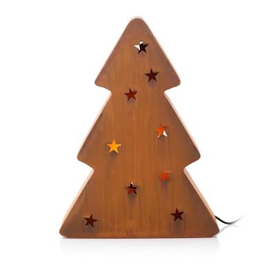 MARKSLÖJD Außenleuchte Frankfurt Baum, Tannenform, ausgestanzte Sterne, rustikal, Metall
