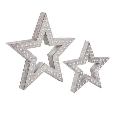 Best of Home Beleuchtetes Deko-Objekt  Modern Wood Star 50 cm x 52 cm x 9,5 cm