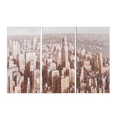 miaVILLA Bilder-Set, 3-tlg. New York, Sepia, handgemalt, je Teil ca. 45 x 90 cm