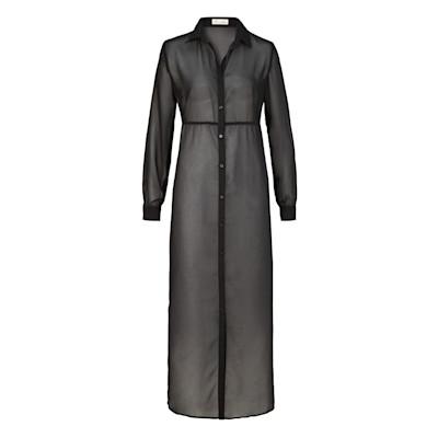 Brandalism Bluse, transparent, geschlitzt, leicht tailliert, Boho-Style, Maxilänge