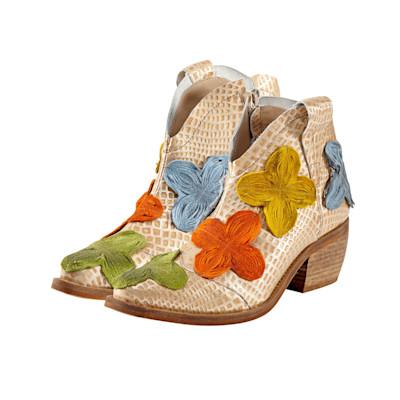 DKODE Stiefelette, Metallic-Effekt, Western-Look, Blumen, Reptil-Look