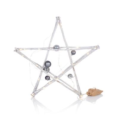 IMPRESSIONEN living LED Stern mit Kugeln, rustikal, Weidenzweige, Glas, in 2 Größen
