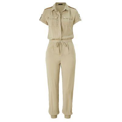 FRACOMINA Jumpsuit, Pailletten, leicht tailliert, Safari-Look