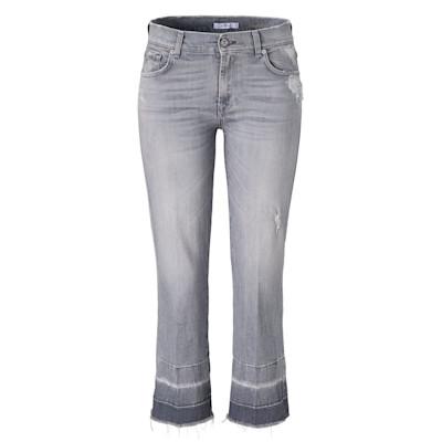 7 for all mankind Jeans, cropped, Destroyed-Effekte, fransiger Saum, Used-Look