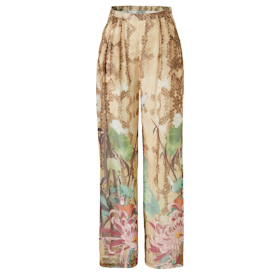 FRACOMINA Palazzohose, Schlangen-Look, Blumenprint, weites Bein, Casual