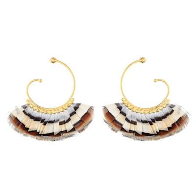 Gas Bijoux Ohrhänger, Fasanenfedern, Ethno-Look, 24 Karat vergoldete Messinglegierung