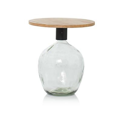 IMPRESSIONEN living Beistelltisch, dekorierbarer Fuß aus Recyclingglas, rustikal, massives Holz