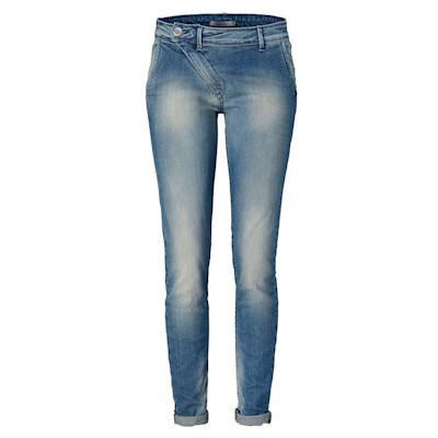 IMPERIAL Jeans, asymmetrischer Reißverschluss, tiefer Schritt, Used-Waschung, leger